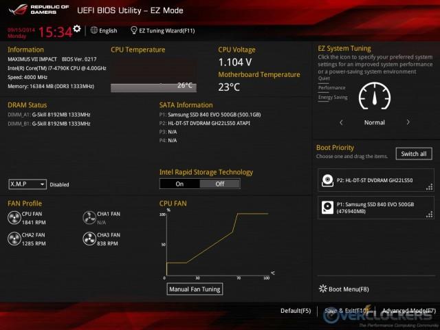 UEFI EZ Mode Screen