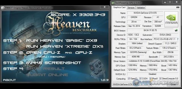 HWBot Heaven @ 1300 MHz GPU / 1900 MHz Memory