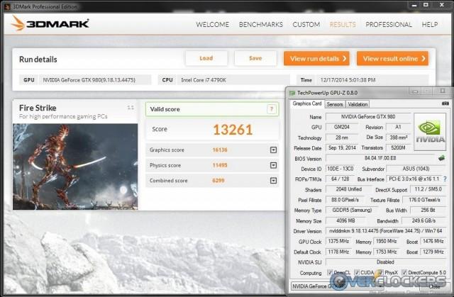 3DMark Fire Strike @ 1375 MHz GPU / 1950 MHz Memory