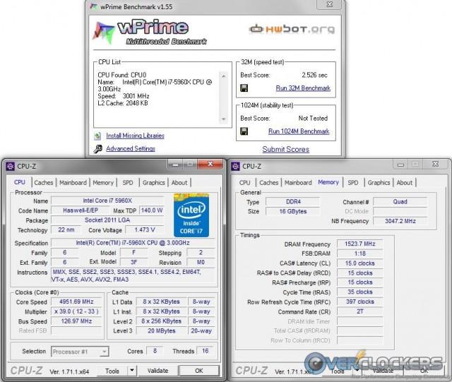 wPrime @ 4.95 GHz CPU / 3050 MHz Memory