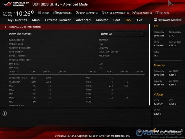 UEFI BIOS SPD Table