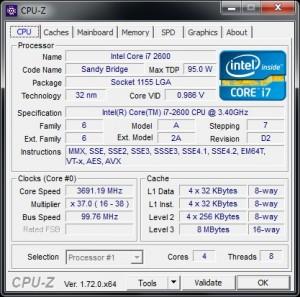 CPUz v 1.72 - Main Tab