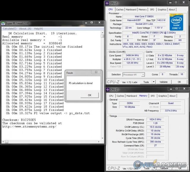 SuperPi 1M @ 3250 MHz - 18-18-18-39