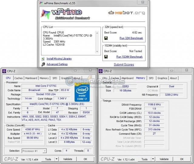 wPrime 32M @ 4.4 GHz CPU / 2400 MHz Memory