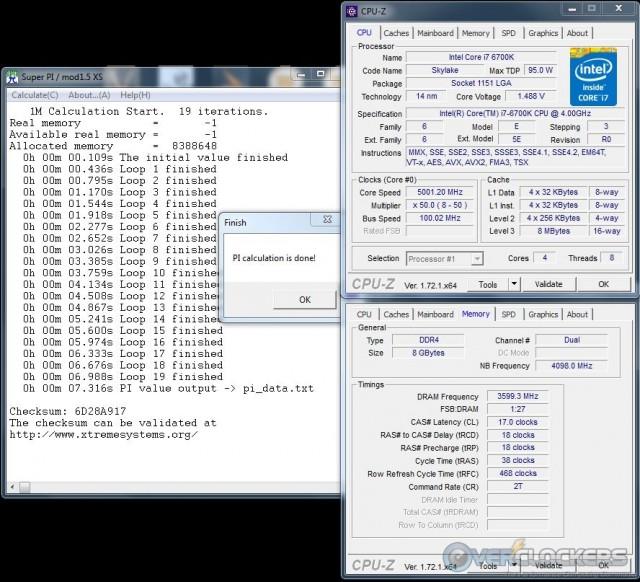 SuperPi 1M @ 5.0 GHz CPU / 3600 MHz Memory