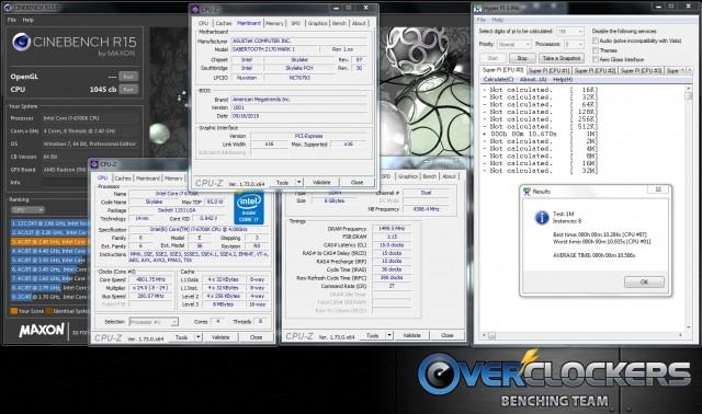 4.8 GHz 1.42v (load), DDR4 3000 MHz CL15, 200 BCLK