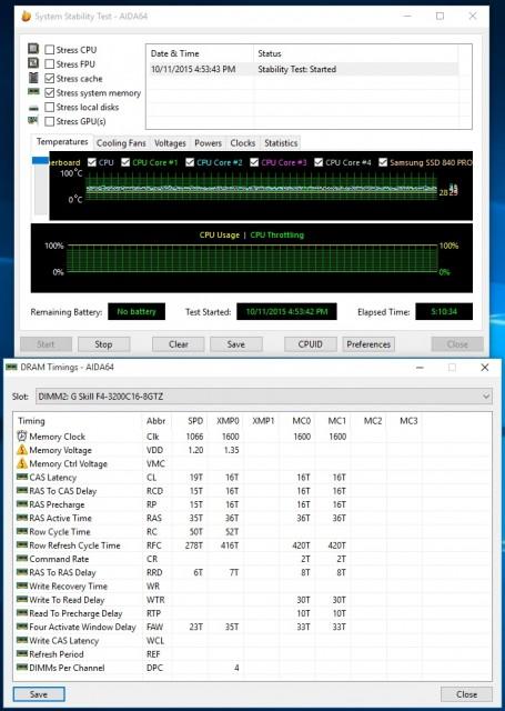 G.Skill TridentZ 16GB DDR4-3200 - AIDA64 Memory and Cache stability test