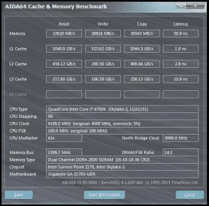 AID64 @ DDR4-2800 16-18-18-36