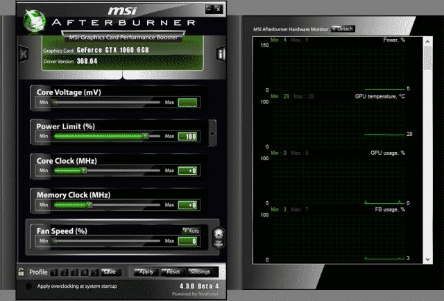 MSI Afterburner v4.3.0 Beta 4 Screenshot