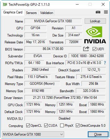 GPUz v1.11.0 Screenshot