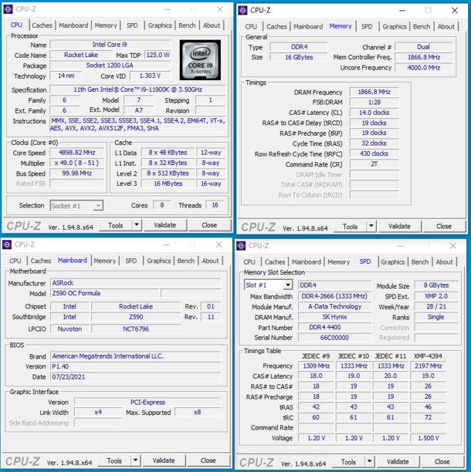 XPG SPECTRIX D45G - CPUz - 3733c14